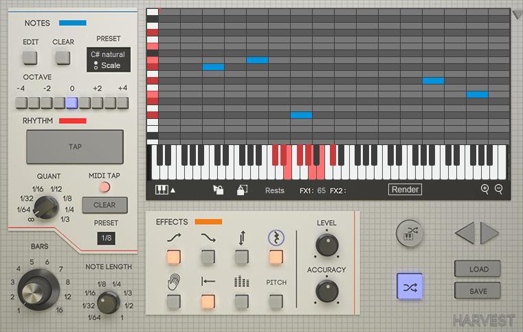 Harvest MIDI generator plugin