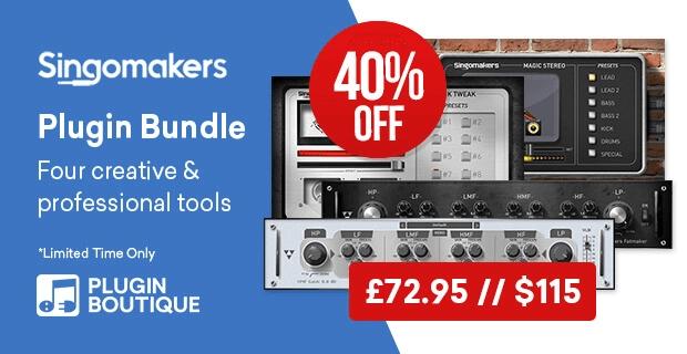 Singomakers Plugin Bundle: EQ, Saturator, Kick Drum Enhancer & Stereo Widener at 40% OFF