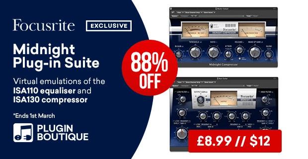 Focusrite Midnight Plug-In Suite on sale for $12 USD