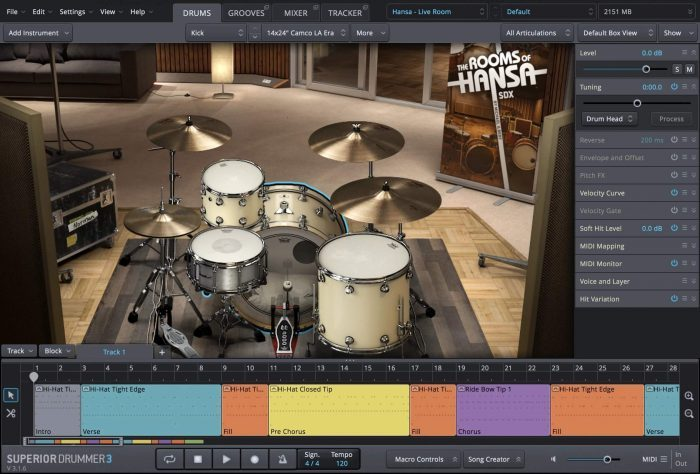 Toontrack Rooms of Hansa SDX GUI