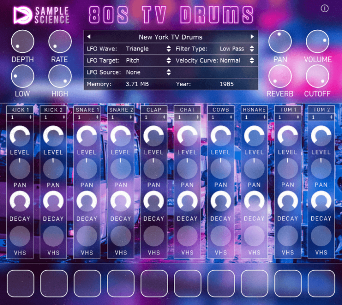 SampleScience 80s TV Drums screen