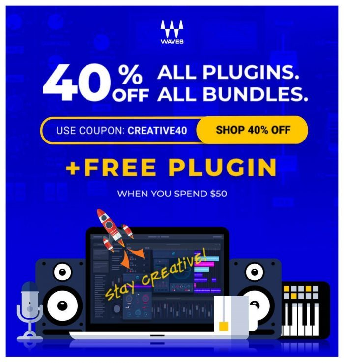 Waves 40 OFF and FREE plugin