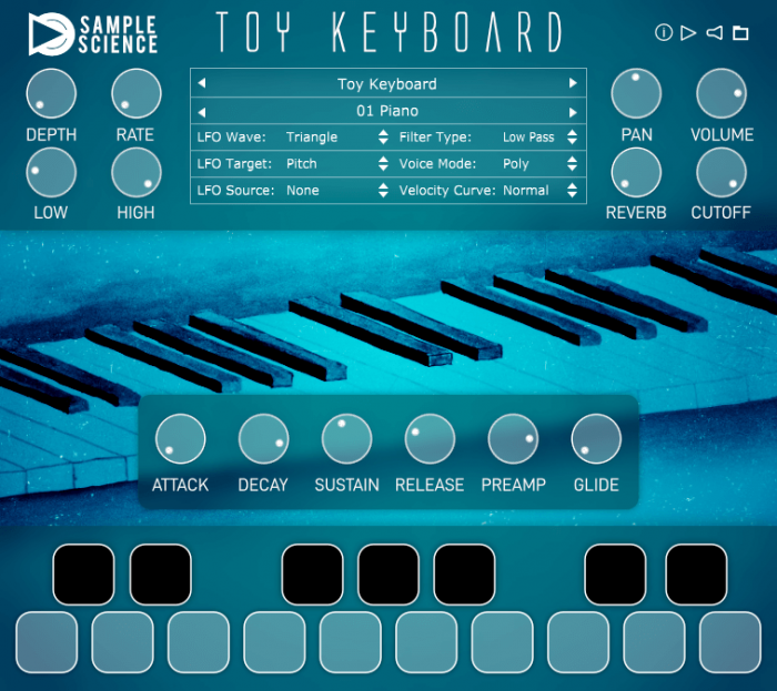 SampleScience Toy Keyboard v2 screen