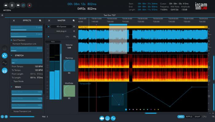 ircamLAB TS2 audio editor