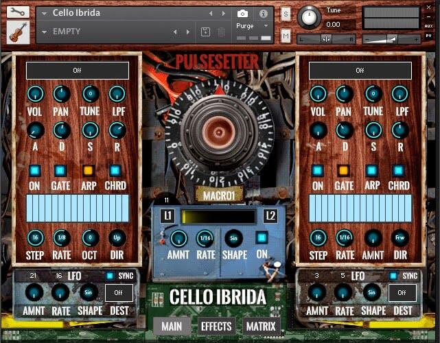 PulseSetter Sounds Cello Ibrida GUI main