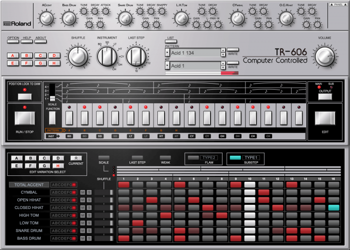 Roland Cloud TR 606 edit panel