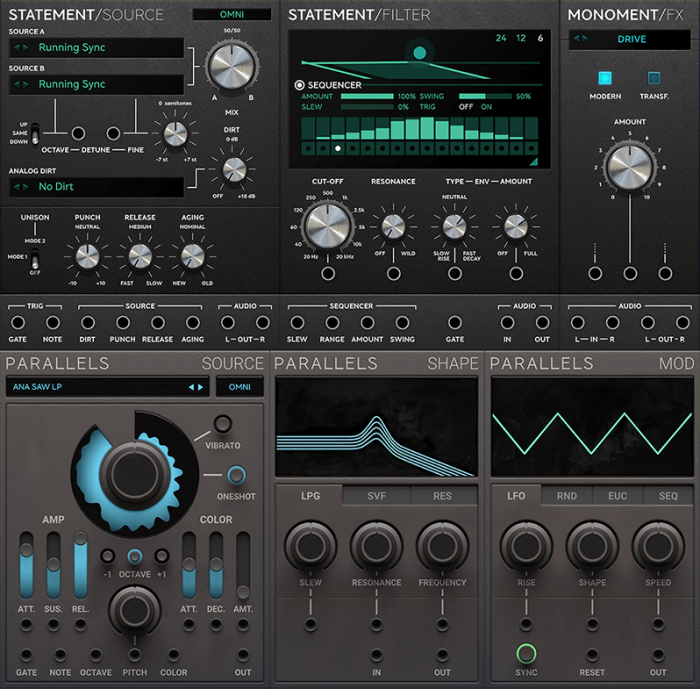 Softube Modular Statement Lead, Monoment Bass and Parallels
