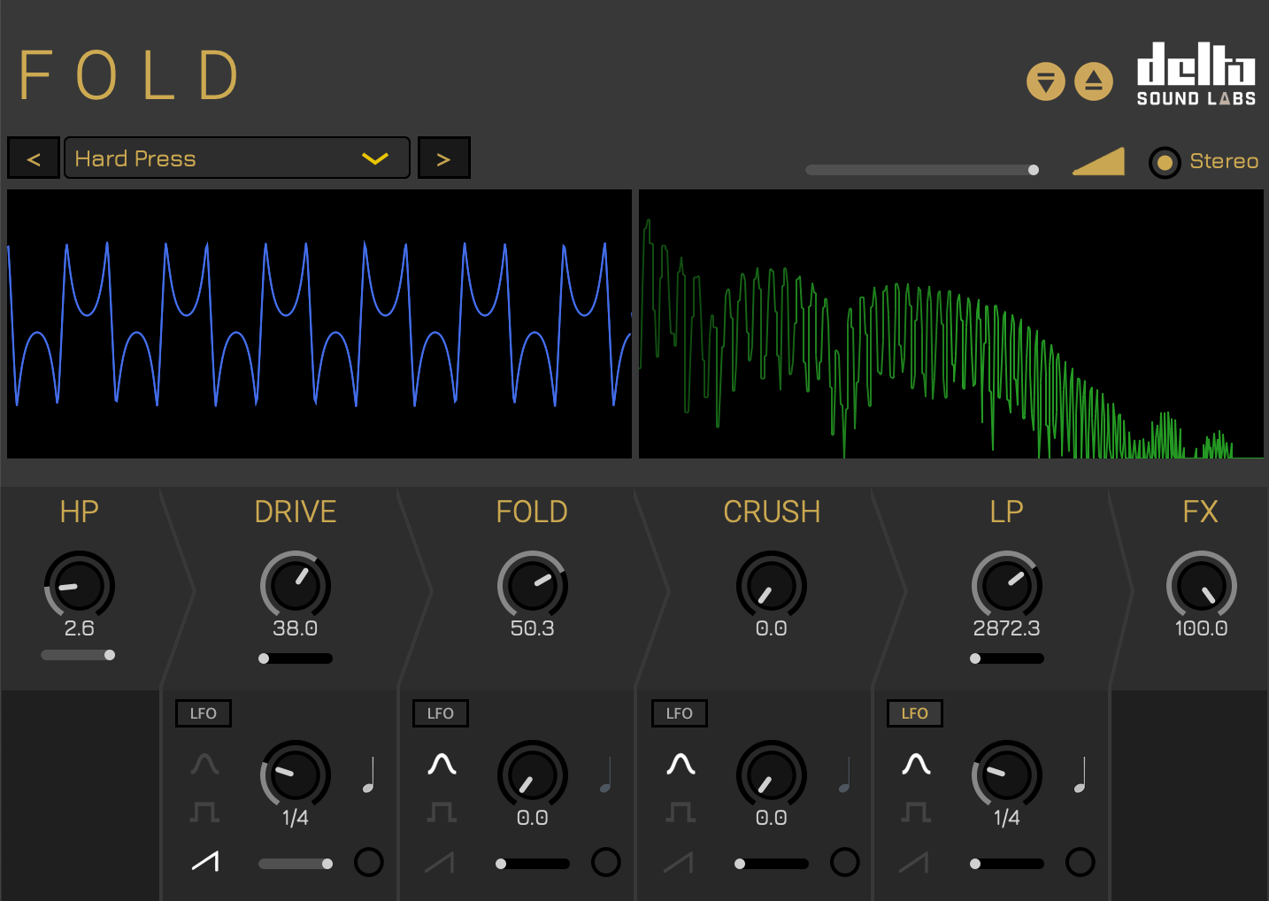 Fold: Distortion synthesis plugin for harmonically rich overtones