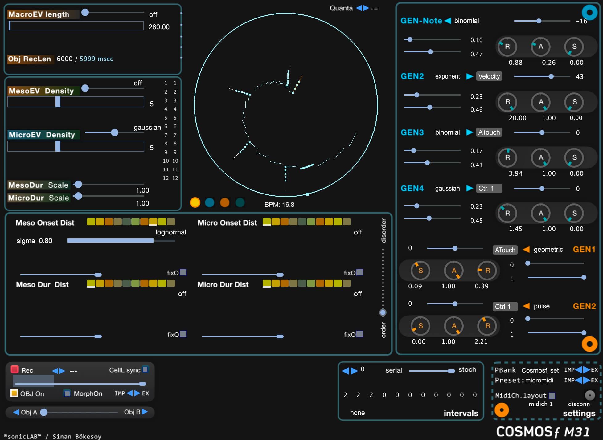 Cosmosƒ M31: Stochastic MIDI event processor by sonicLAB