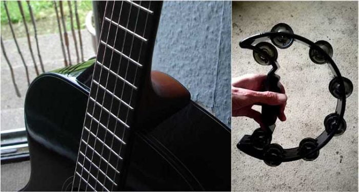 acoustic guitar & tambourine