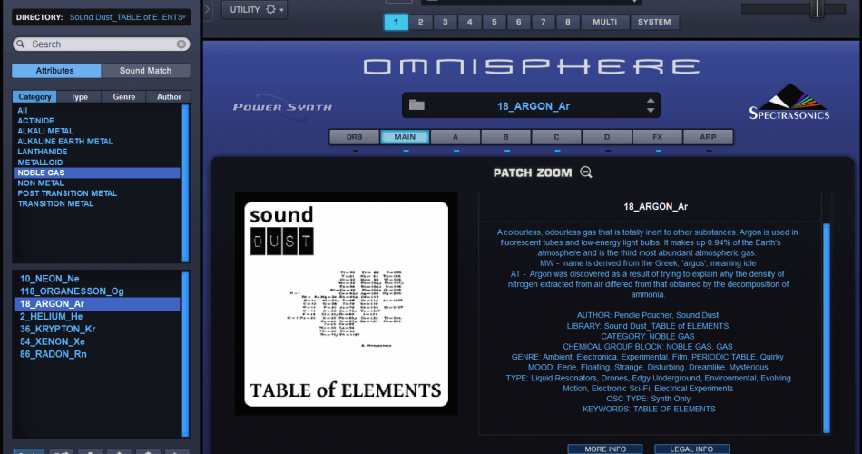 Sound Dust Table of Elements for Omnisphere