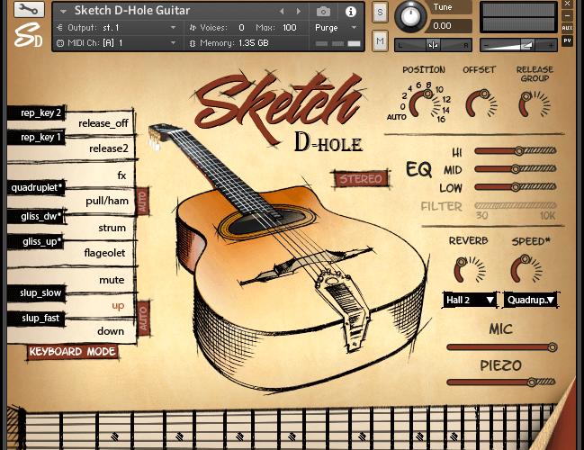 Sketch D Hole Guitar